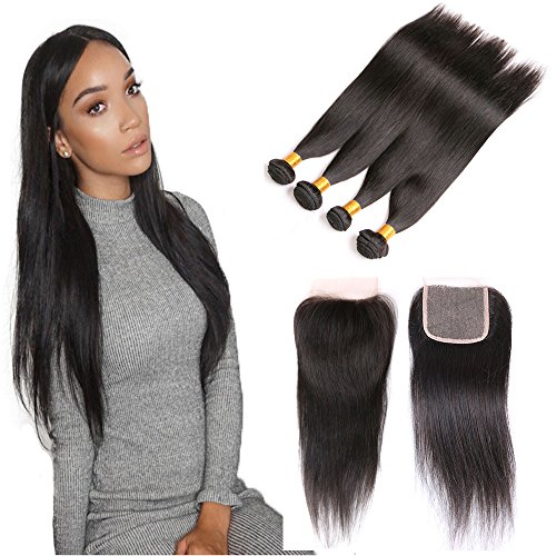 dai-weier-brazilian-hair-straight-4-bundles-with-a-free-part-lace-closure-cheap-virgin-human-hair-7a