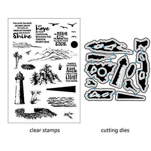 ECMQS Leuchtturm DIY Transparente Briefmarke, Silikon Stempel Set, Clear Stamps, Schneiden Schablonen, Bastelei Scrapbooking-Werkzeug