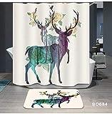 Odot Rideau de Douche Tissu Lavable Cerf Impression, 3D Polyester Imperméable Anti...