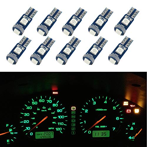 WLJH T5 ampoule LED Canbus gratuit erreur très lumineux vert tableau de bord de voiture dôme intérieur panneau de porte plaque de plaque d'immatriculation latérale légère, Pcak de 10