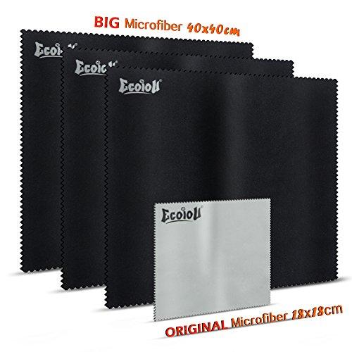 Preisvergleich Produktbild (TV / LAPTOP Pack) Ecoiou Mikrofaser-Reinigungstücher | doppelseitige Mikrofaser Reinigungstücher mit sanft farbigem Stoff-Extra große Tücher für LCD, LED, 4K, 3D, TV-Bildschirme, Auto und andere empfindliche Oberflächen(3 schwarz 40X40cm, 1 Grau 18X18cm)