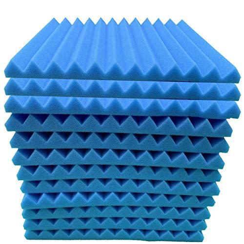 Hukz 12 Stück Akustikschaumstoff Schallschutz Schaum Matte, Keilschaumstoff Schalldämmplatten Soundproof Foam, Noppenschaumstoff Schaum-Fliesen für Zuhause und Studio, 30x30x2.5cm