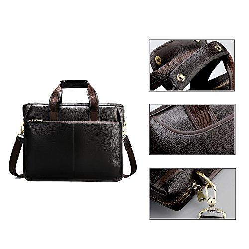 Padieoe Aktentasche Laptoptasche gro? mit herausnehmbarer Businesstasche mit Schultergurt echt Leder Braun Braun