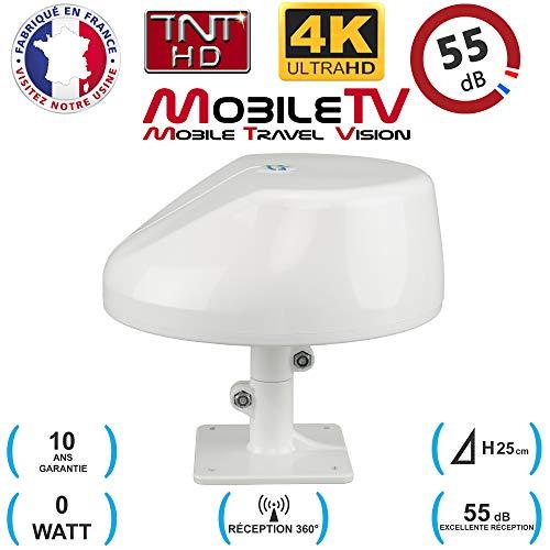 Antenne TNT HD 4K 55dB Camping Car/Caravane/Camion/Fourgon/Bateau/Poids Lourd Omnidirectionnelle Omni Pro Plus Max MobileTV - Garantie 10 Ans
