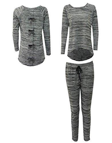 Anzug Tie Dye (Damen 2Stück Anzug gemütlichen Schlafanzug mit Schleife Rückseite Lounge Wear Sport Gr. xl,  - BOW TIE)