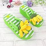 coreano carino fumetto ciabatte infradito sandali estate Girls creative Fruit banana piattaforma tacco alto pantofole, M codice raccomandata 11,4m Wear, verde