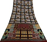 Vintage Indian Reine Seide grau Saree Check Printed