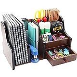 #2: Lukzer Big Pen Stand Office Stationery Wooden Mobile Holder For Office Desk 8035 ,Brown