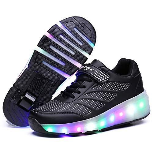 Recollect Kinder LED Schuhe mit Rollen Drucktaste Einstellbare Skateboardschuhe 1Räder/2 Räder Outdoor Gymnastik Turnschuhe Für Junge Mädchen,Black1,36EU