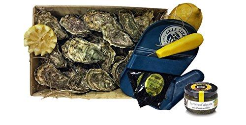 Poissonnerie com - 3 douzaines d'huîtres fines de Bretagne N°4 produites à Carantec + un couteau et un gant à huîtres + 1 tartare d'algues au citron 110g + 2 citrons