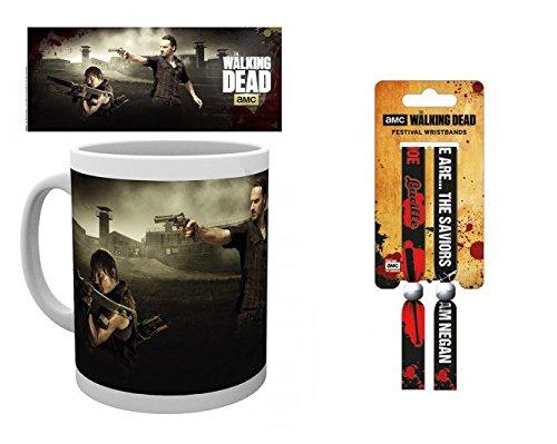 Set: The Walking Dead, Daryl Dixon, Rick Grimes, Gefängnis Foto-Tasse Kaffeetasse (9x8 cm) Inklusive 1 The Walking Dead Armband (10x2 cm)