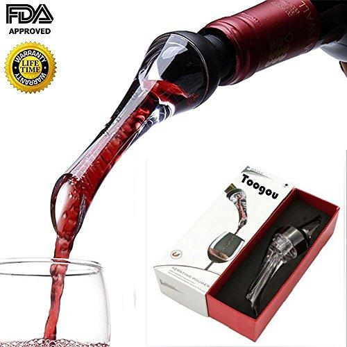 toogou Wein Luftsprudler Ausgießer?PREMIUM Belüften Ausgießer rot und weiß Wine Breather Dekanter Auslauf schwarz schwarz