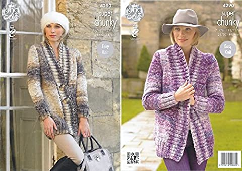 King Cole Ladies Easy Knit Super Chunky Tints Knitting Pattern Ribbed Detail Jackets (4290)