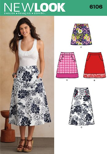 New Look Sewing Pattern 6106: Misses' Skirts, Size A(10-12-14-16-18-20-22)