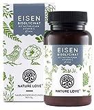 NATURE LOVE® Eisen - 40mg Eisen + 40mg natürliches Vitamin C (Acerola) je Tablette. 120 Stück (4 Monate), bioverfügbares Eisen-Bisglycinat. Laborgeprüft, vegan, hochdosiert, hergestellt in Deutschland