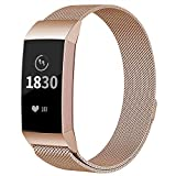 AdePoy Replacement Strap Bands Compatible For Fitbit Charge 3, Stainless Steel Milanese Wristbands Smart Watch Bracelet with Unique Magnet Lock Rosegold Small