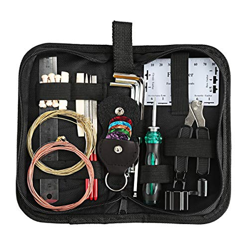 Kungber Gitarre Reparatur Set, Gitarren Wartung Werkzeug Kit, Komplettes Reparaturset von Werkzeugen für Gitarre Ukulele Bass Banjo Mandoline mit Extra handlichem Tragekoffer (Set A)