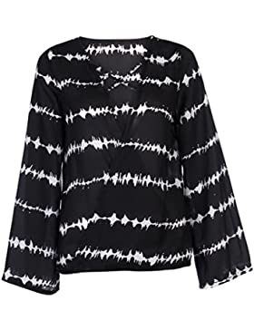 Cocoty Las mujeres sueltas de gasa blusa Casual Tops manga larga estampado