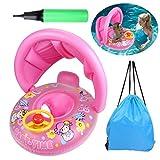 OWUDE Giocattolo di galleggiamento dello stagno gonfiabile della barca del galleggiante di nuoto del bambino baldacchino regolabile per 12-36 mesi (Rosa)