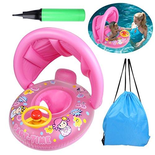 OWUDE Baby Schwimmen Float Boat Aufblasbare Pool Schwimmende Spielzeug mit Verstellbaren Baldachin für 12-36 Monate (Rosa)