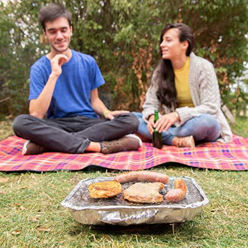 514JN0DZUML - Relaxdays Einweggrill, gebrauchsfertig, 2 Standfüße, 500g Grillkohle enthalten, instant BBQ, lange Brenndauer, silber