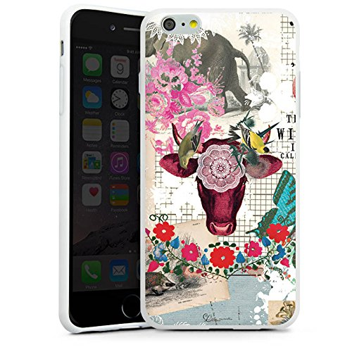 Apple iPhone X Silikon Hülle Case Schutzhülle Muster Collage Vintage Silikon Case weiß