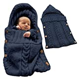 Tomwell Saco de Dormir Unisex para Bebés Recién Nacidos Manta para Bebé Carrito de Bebé Blanket Manta para 0 – 12 Meses Azul Oscuro 72X35 CM