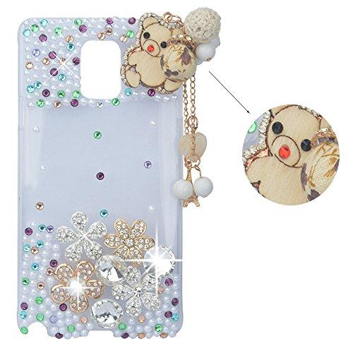 Spritech (TM Bling 3D Strass Design Schutzhülle Kristall Blume Anhänger Bär Decor Clear Hard Cover Fall, Color-2, Samsung Galaxy Note Edge (G Cricket Phone Moto)