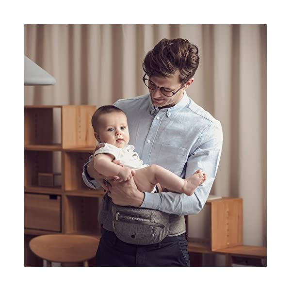 Bebamour Foldable Baby Carrier Hip Seat Baby Carrier Newborn to Toddler with Large Pockets Ergonomic Toddler Waist Seat for 0-36 Months (Dark Blue) bebear ❤️Unique Designed - The baby carrier can be foldable. There is a foldable aluminum tube support in the hip seat. When you going out, you can folding the hip seat and put into the pouch easily. ❤️Two Zipper Pockets - 1 front zipper pocket can put bottles, diapers. 1 side zipper pocket fits cellphone or other small things. It is good for you to take your baby outside without bag. ❤️Three Carry Styles: Horizontal Position, Facing Inward and Facing Forward Position. Weight 33 pounds and for your baby who is 0-36 months. 7