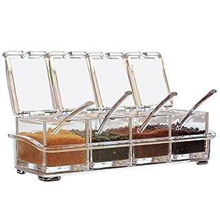 AEVEL Spice Container, 3Fächer, Kräuter, leicht zu reinigen (4x 300ml)
