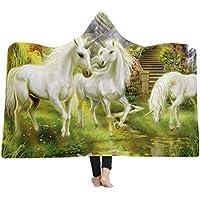 3D Patrón Unicornio Manta con capucha,Manta Gruesa con Capucha Caliente para Niños y Adultos