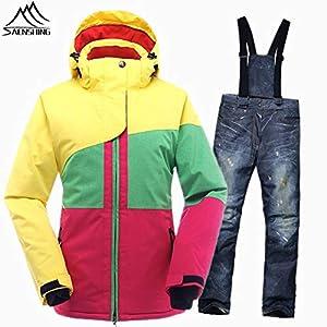 Zjsjacket Skianzug Snowboard-Anzüge Mädchen Schneejacke Wasserdicht Winddicht Damen Skianzug Snowboardjacke Setzt Thermal Winter