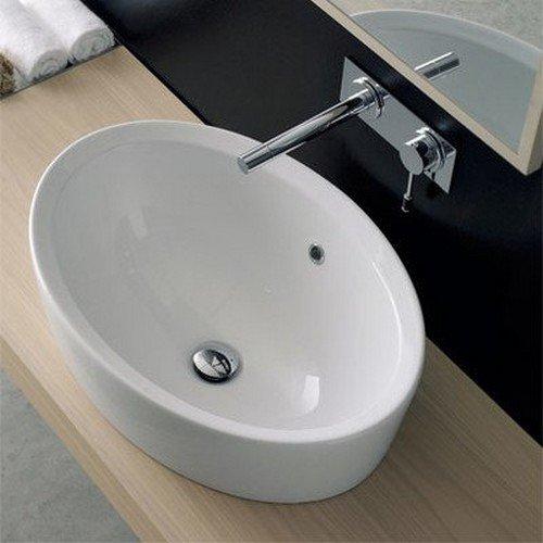 Unbekannt Scarabeo 8056/A/r-one Loch Matty Ovale Form Keramik Built im Becken, weiß