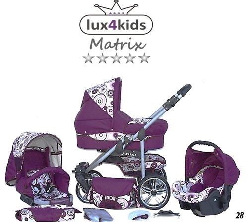 Chilly Kids Matrix II Kinderwagen Sommer-Set (Sonnenschirm, Autositz, Regenschutz, Moskitonetz, Schwenkräder) 28 Pink & Kreise
