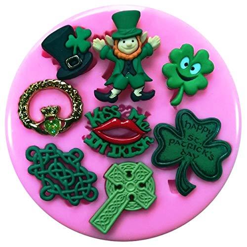 ikon-Form für Kuchendekoration, Motiv: St. Patrick's Day Irland, vierblättriges Kleeblatt, Claddagh, keltisches Kreuz ()