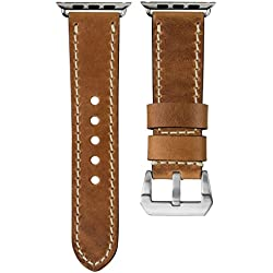 USA Oiled Leather Geckota® Watch Strap Ivory Stitch for Apple Watch 42mm, Tan Brown