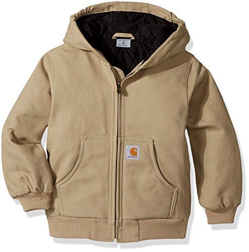 Carhartt Boys' Big Active Taffeta Quilt Lined Jacket, Dark Tan, Medium (10/12) -