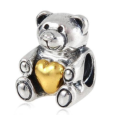 Soulbead Bear Hug Heart Charm 925 Sterling Silver Gold Plated