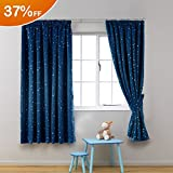 H.Versailtex Printed Blackout Pencil Pleat Pair Light Reducing Microfiber Curtains, Thermal Insulated & Warm Protecting, Navy Blue with Silver Stars for Kid's Room, 46'' Width x 54'' Drop