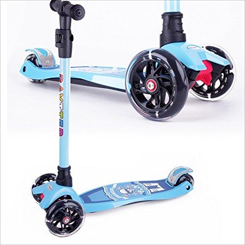 BAYTTER Kinderscooter Dreirad mit verstellbarem Lenker Kinderroller Roller Scooter LED Blinken für Kinder ab 3 4 5 Jahren, bis 100kg belastbar (Modell A in Blau)