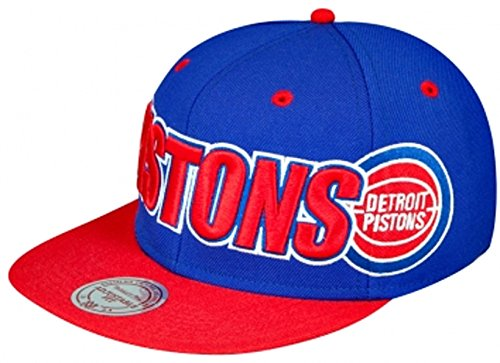 Mitchell & Ness - Casquette Snapback Homme Detroit Pistons Logo & Wordmark