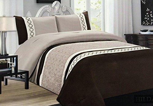 3tlg. Patchwork Streifen Tagesdecke Taupe Beige Braun Bettüberwurf Überwurf für Doppelbett Braun 220x240 Quilt - Plaid Braun