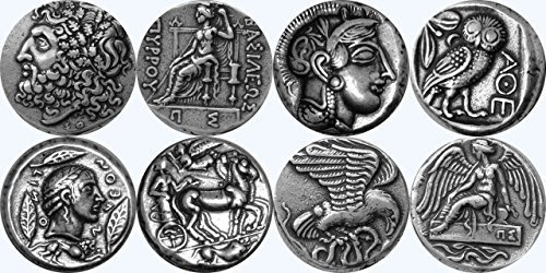 Golden Artifacts Zeus, Athene, Apollo /, Nike, griechischen Götter & Göttinnen Sammlung, den berühmtesten griechischen Münzen Set 2 4 Verschiedene Sets