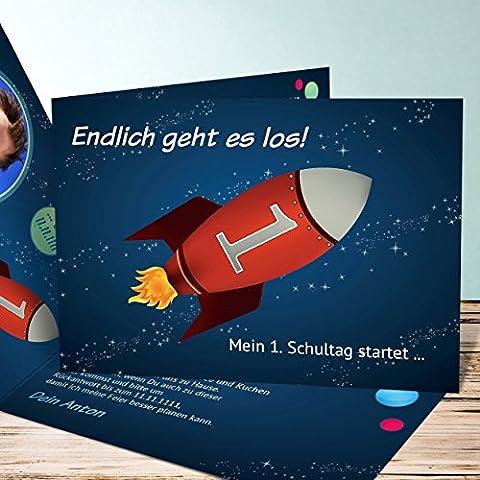 Einladungskarten zur Einschulung, Rakete 5 Karten, Horizontale Klappkarte 148x105 inkl.