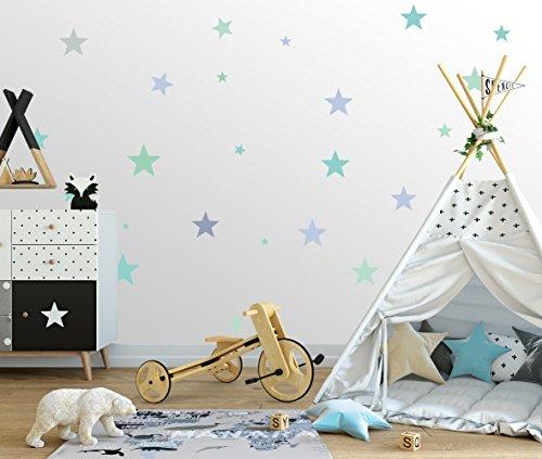 25 Sterne Wandtattoo fürs Kinderzimmer - Wandsticker Set - Pastell Farben, Baby Sternenhimmel zum Kleben Wandaufkleber Sticker Wanddeko - Wandfolie, Kleinkinder, Erstausstattung auf Rauhfaser Türkis