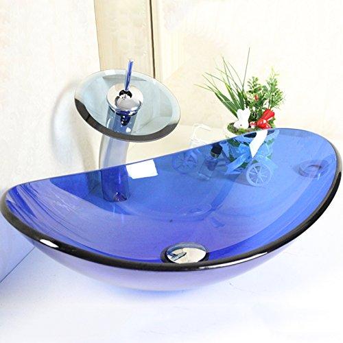 HomeLava Modern Blau Oval Glas Waschbecken mit Wasserfall Armatur,Ablaufgarnitur, Montagering -