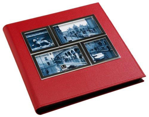 Umbra 308480-397 Horizon Metall und Lederimitat Fotoalbum für 260 Fotos 10 x 15 cm chrom/rot - Umbra-foto-album