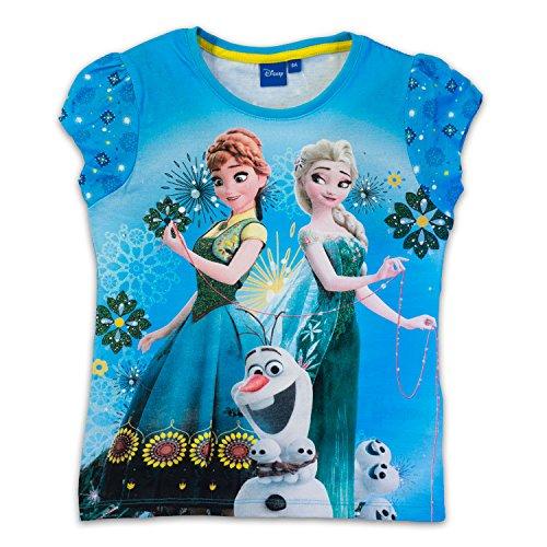 Disney frozen - t-shirt maglia maglietta maniche corte - elsa e anna - 100% cotone - bambina - novità prodotto originale 2401eq [azzurro - 8 anni - 128 cm]