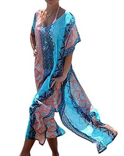 Jastore®boho Damen Strandponcho Sommer Kleid Überwurf Kaftan Strandkleid Bikini Tunika Cover Up (Blau) (Kaftan Vor)
