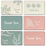 meilleurs vœux de papier 48-pack Thank You Cartes de vœux Bulk Box Set, vierge à l'intérieur, 6Floral et feuillage Designs, Rose, Beige, Vert, enveloppes incluses, 48comprimés 10,2x 15,2cm...